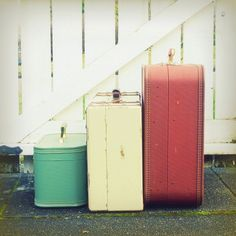 Vintage suitcases #vintage #suitcase We use them for storage inside the camper and they make for cute decor.