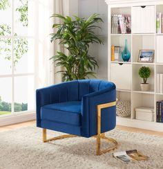Carter Navy Velvet Gold Stainless Steel Base Accent Chair
