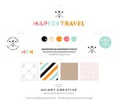 Mappin Travel Brand Board Custom Logo Design by Aviary Creative www.etsy.com/shop/AviaryCreative www.facebook.com/aviarycreativedesign