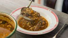 Lamb shank, barley and mushroom soup
