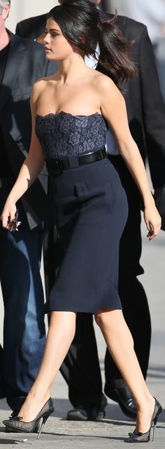 Selena Gomez in Chanel Dress and Tom Ford Pumps