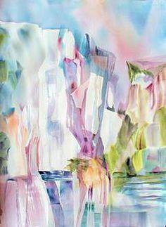 """Yosemite Waterfalls""  Watercolor© Barbara Nechis"