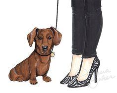 Zebra Dachshund Fashion Illustration Art Print by joannabaker