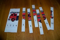 Number Puzzle - These puzzles can be printed below.  I like to print on card stock, laminate, and cut the strips with a paper cutter.  The template is for you to add pictures of your own from magazines, etc.