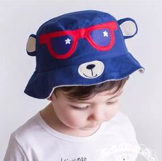 b5897c34fe0 Cute bear embroidered sun hat with ears blue bucket hats for kids