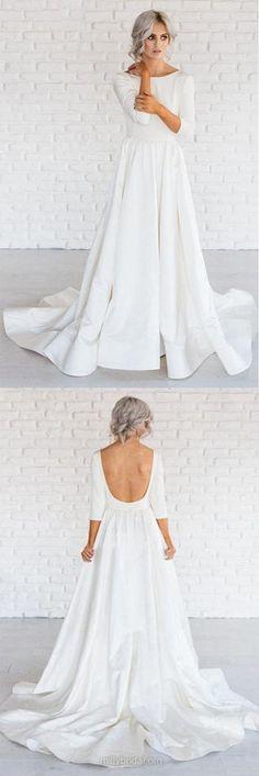Simple White A-line Satin Sweep Train 3/4 Sleeve Backless Wedding Dresses #white #wedding #satin #backless #prom #okdresses
