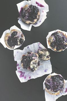 Vegan Blueberry Muffins - Fully loaded Vegan Blueberry Muffins with a lemon zest topping and homemade Blueberry Jam Swirl. Vegan Sweets, Vegan Desserts, Delicious Desserts, Vegan Recipes, Yummy Food, Vegan Blueberry Muffins, Blueberry Jam, Blue Berry Muffins, Blueberry Breakfast