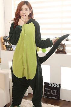 Cute Green Dinosaur Cartoon Onesies Animal Pajamas