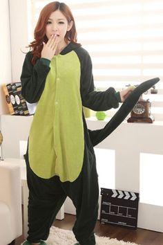 Cute Green Dinosaur Cartoon Onesies Animal Pajamas
