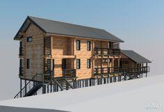 Дом на склоне: архитектура, 2 эт | 6м, жилье, модернизм, 100 - 200 м2, фасад - дерево, коттедж, особняк #architecture #2fl_6m #housing #modernism #100_200m2 #facade_wood #cottage #mansion arXip.com