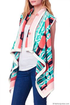 Womens Sleeveless Aztec Wrap Size S Tribal Draped Swing Cardigan Dorian Graphic Tribal Print Cardigan, Aztec Sweater, New Fashion Trends, Everyday Outfits, Black Sweaters, Trending Outfits, Stylish, Clothes, Cardigans