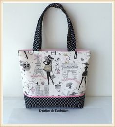 "SAC / CABAS cotton fabric ""Parisian"" fashion handmade"