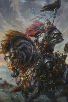 Art about fantasy, steampunk, comics, sci-fi and other lands of dreams. Angel Warrior, Fantasy Warrior, Fantasy Art, Paladin, Warrior Paint, Knight In Shining Armor, Medieval Fantasy, Horse Art, Fantasy Characters