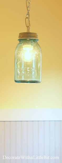 DIY Mason Jar Pendant Light - use w/ nickel fixture, cut the bottom of the jar.