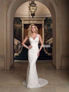 Elegant Sheath/Column Lace Low V-neck Buttons Wedding Dress#GOWT69365081  Price: $289.