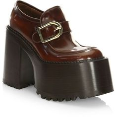 Marc Jacobs Ruth Leather Platform Loafers In Whiskey Pretty Shoes, Cute Shoes, Me Too Shoes, Block Heel Loafers, Block Heel Shoes, Leather Loafer Shoes, Leather Slip On Shoes, Marc Jacobs Shoes, Mode Vintage