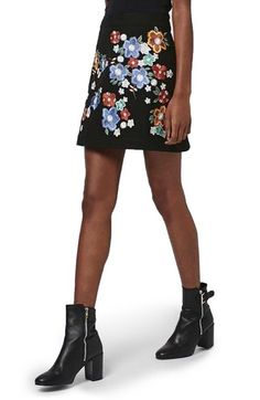 Topshop 'Star Flower' Embroidered Miniskirt available at #Nordstrom