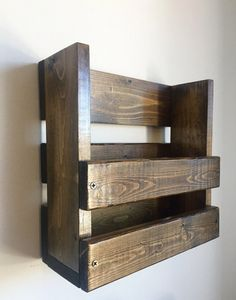 Rustic magazine/book holder wall mounted by BlackIronworks on Etsy