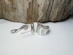 Elegant Sterling Silver Geometric White Mother Pearl Hoop Earrings,Mother Pearl Huggie Earring,Mother Pearl Hoop Earrings,Personalized Gifts by Supsilver on Etsy
