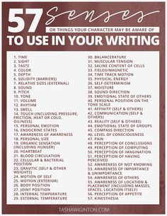 List of ideas for descriptive writing using the senses. #amwriting #writing #amediting