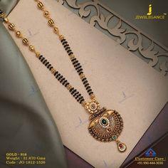 Jadtar Mangalsutra jewellery for Women by jewelegance. ✔ Certified Hallmark Premium Gold Jewellery At Best Price Gold Bangles Design, Gold Jewellery Design, Gold Jewelry, Beaded Jewelry, Bridal Jewelry, Jewelery, Jewelry Design Earrings, Gold Earrings Designs, Necklace Designs