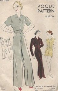 Original 40s sewing pattern from Vogue Pattern Service, New York, for a fabulous one-piece lounging pyjama with high waist and wide legs, as well as a shorter playsuit version.  Original VOGUE vintage fashion pattern | eBay