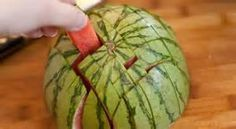 Cutting a watermelon for finger food