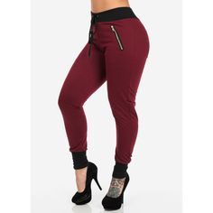 Burgundy Joggers with Front Zippers ($17) ❤ liked on Polyvore featuring activewear, activewear pants, pants, jeans y jogger