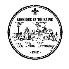 French Country Un Bon Fromage Fabrique Primative Stencil-- 5mil Matte Mylar Stencil. Great for stenciling on fabric, paper, and walls!