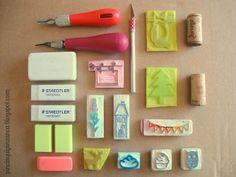 Pincinqui Pinzanca: Locura de Lunes Handmade Stamps, Handmade Crafts, Eraser Stamp, Stamp Carving, Cork Art, Wax Seal Stamp, Heart Crafts, Tampons, Diy Arts And Crafts