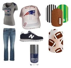 """Football season outfit!"" by ariel-jolley-croteau on Polyvore featuring beauty, NIKE, Silver Jeans Co., New Balance, nails, nailart and nailpolish"