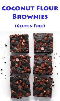 These Coconut Flour Brownies are so moist and delicious. Oh and did I mention they're Gluten Free? Gluten Free Desserts, Easy Desserts, Gluten Free Recipes, Delicious Desserts, Dessert Recipes, Yummy Food, Top Recipes, Healthy Desserts, Yummy Recipes