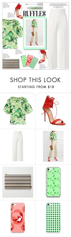 """Chic Ruffled Top"" by atelier-briella ❤ liked on Polyvore featuring Merchant Archive, Casadei, Roland Mouret, Music Notes, Urban Decay, chic, Elegant, iPhonecases and ruffledtops"