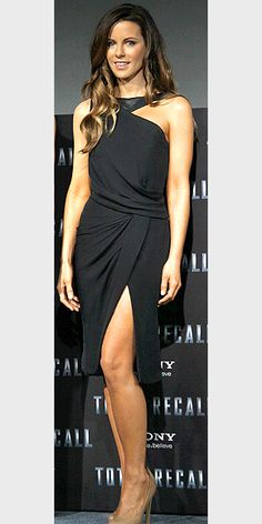 kate beckinsale. Love this dress. Would want the high low hem