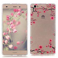 Pheant® Huawei P8 Lite Silikon Hülle Kristall Klar Transparent Schutzhülle Tasche Handyhülle(Plum Blume)