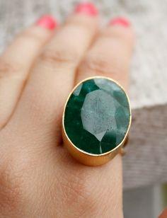 Green Emerald Ring - Green Stone Ring - May Birthstone Ring, May Birthdays, Adjustable Ring