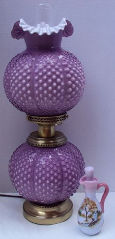 Violet Overlay Hobnail Gone-with-the Wind lamp and Blue Burmese cruet with a one-of-a-kind hand-painted decoration -Fenton Antique Oil Lamps, Old Lamps, Antique Lighting, Vintage Lamps, Fenton Lamps, Fenton Glassware, Vintage Glassware, Light Art, Victorian Lamps
