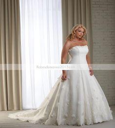 Brilliant A-line bretelles chapelle Appliques Floor-Length Plus Size robe de mariée