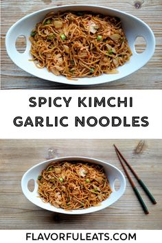 Sesame, garlic, kimchi, and a delectable soy/sesame sauce are combined to make Spicy Kimchi Garlic Noodles a perfect noodle side dish or a delicious vegetarian entree! Spicy Recipes, Delicious Recipes, Asian Recipes, Great Recipes, Chicken Recipes, Dinner Recipes, Healthy Recipes, Vegetarian Entrees, Vegan Dinners