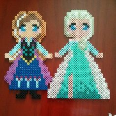 Disney Frozen Anna and Elsa perler beads by ih8leslie