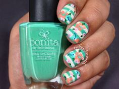 Striped nails with printed floral art!