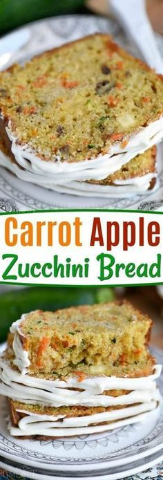 This Carrot Apple Zucchini Bread recipe is incredibly moist and flavorful! Vibrant colors from the carrot, apple, and zucchini makes this quick bread irresisitble! Sure to be a new favorite! // Mom O (Baking Bread Zucchini) Apple Zucchini Bread, Carrot Bread Recipe Moist, Zuchinni Recipes Bread, Best Moist Zucchini Bread Recipe, Zucchini Carrot Muffins, Zucchini Desserts, Zuchinni Cheese Bread, Pumpkin Seed Bread Recipe, Sugar Free Zucchini Bread