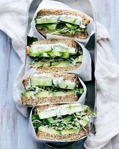 Cucumber, Avocado & Herbed Goat Cheese Sandwich  via @feedfeed on https://thefeedfeed.com/bromabakery/cucumber-avocado-herbed-goat-cheese-sandwich