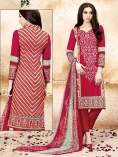 Prominent red color printed cotton kameez comes with matching bottom. Item Code: SLHP704 http://www.bharatplaza.com/new-arrivals/salwar-kameez.html
