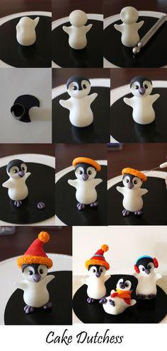 How to make some cute festive penguins figurines - by Naera @ CakesDecor.com - cake decorating website