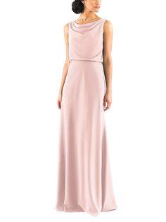 DescriptionJenny YooMadelynFulllength bridesmaid dressDraped, cowl necklineDeep v backNatural waistlineCrepe de Chine