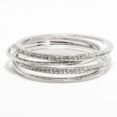 Jennifer Lopez Simulated Crystal Hammered Bangle Bracelet Set ($21) ❤ liked on Polyvore featuring jewelry, bracelets, accessories, bijoux, pulseiras, grey, crystal bangles, artificial jewellery, jennifer lopez and grey jewelry