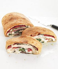 Can put any vegetables/meats you want to inside... I like a couple kinds of italian meats plus peppers, mushrooms, spinach. Also use mozzarella and parmesean cheeses. Can sprinkle shredded parmesean on top for a crispy cheese crust... get creative!