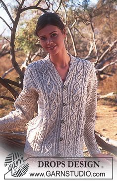 DROPS Cardigan in Angora-Tweed with cables and scarf collar. Free knitting pattern by DROPS Design. Free Aran Knitting Patterns, Ladies Cardigan Knitting Patterns, Knit Cardigan Pattern, Cable Cardigan, Cable Knitting, Vest Pattern, Knitting Designs, Free Knitting, Free Pattern