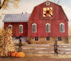 "Trendy Decor Ready to Hang Framed Print White Frame 38 In. x 26 In. Autumn Leaf Quilt Block Barn by Billy Jacobs at Lowe's. ""Autumn Leaf Quilt Block Barn"" a framed Giclee print by artist Billy Jacobs, in a stylish white frame. This art features an autumn Billy Jacobs Prints, Barn Quilt Patterns, Barn Art, Autumn Scenes, Country Art, Country Life, Country Living, Country Decor, Country Roads"